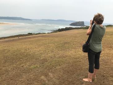 Sue taking photos at Minnamurra